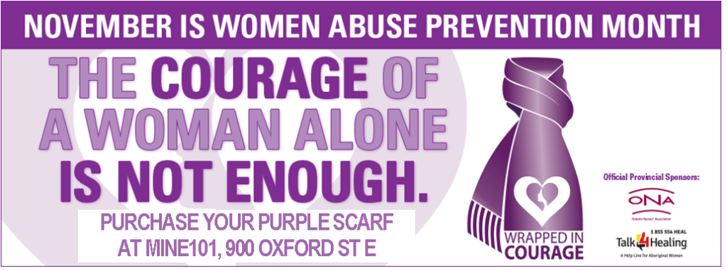 Woman Abuse Purple Scarf